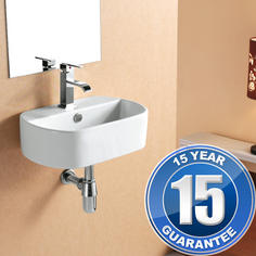 View Item Europa Santiago 1TH Contemporary Ceramic Bathroom Wall Hung Basin Sink 4291